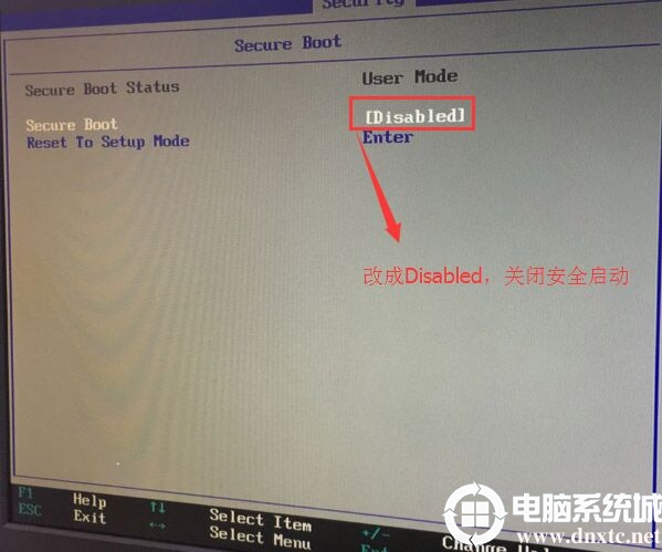 Secure Boot回车设置成Disabled