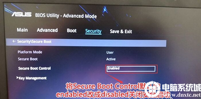 把Secure Boot control选enabled改为disabled关闭安全启动