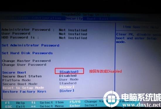 联想笔记本Secure Boot回车设置成Disabled关闭安全启动