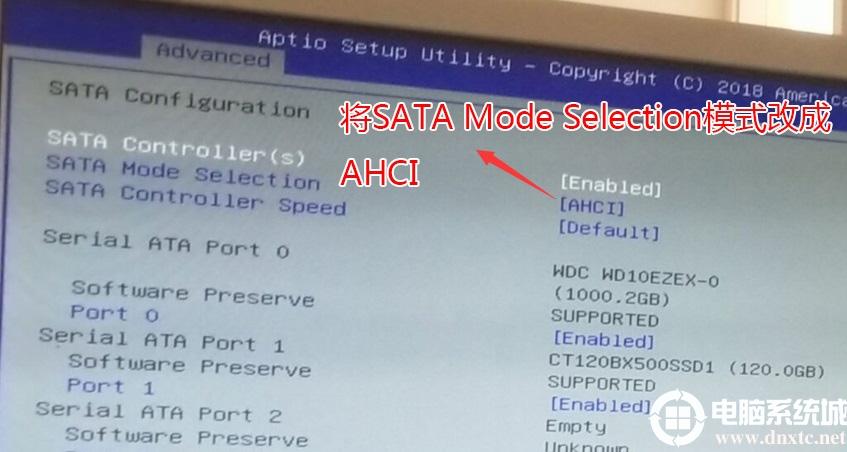 ��SATA Mode Selection硬�锉P模式改成AHCI