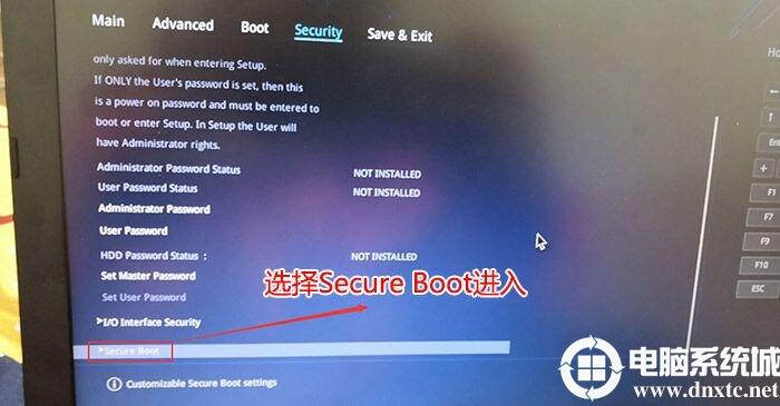 选择secure boot进入